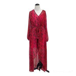 JLO Red Faux Wrap Long Sleeve Flowy Maxi Dress, XL